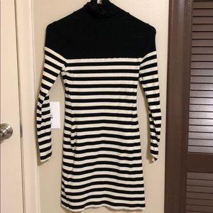 Topshop Striped Turtleneck Dress